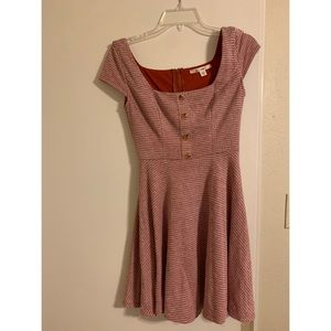 Adorable red scooped-neck mini-dress